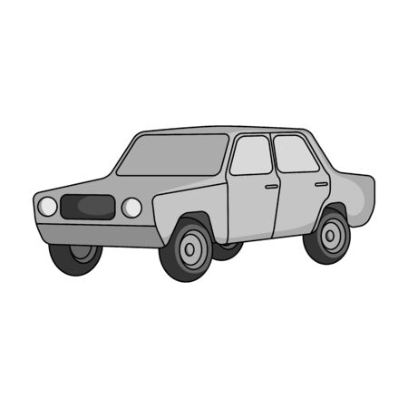 Old car. Car single icon in monochrome style vector symbol stock illustration web. Ilustrace