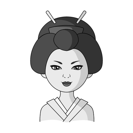 the appearance: Japanese.Human race single icon in monochrome style vector symbol stock illustration web.