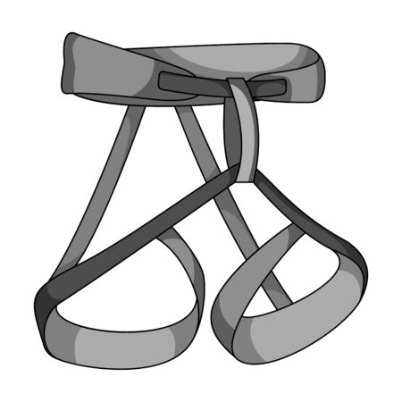 strapping: Climbing strapping, insurance.Mountaineering single icon in monochrome style vector symbol stock illustration .