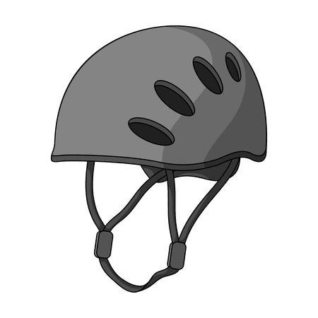 mountaineering: Plastic helmet climber.Mountaineering single icon in monochrome style vector symbol stock illustration .