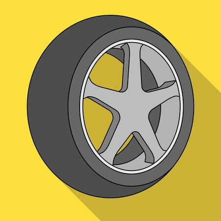 tire cover: Wheel with a tire cover for the car.Car single icon in flat style vector symbol stock illustration web. Illustration