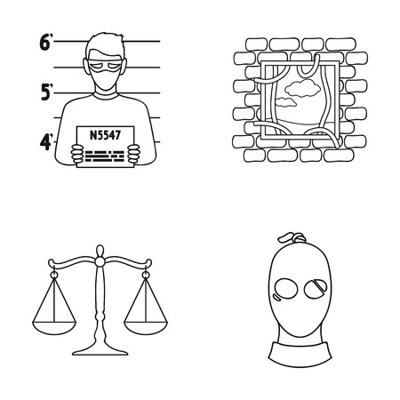 Photo of a criminal, escape from prison, scales of justice, a thief in a mask. Crime set collection icons in outline style vector symbol stock illustration web.