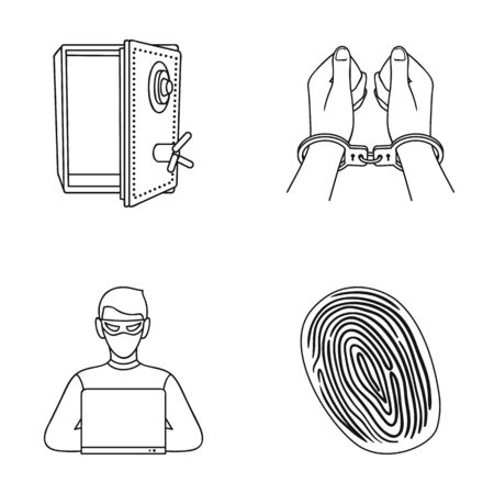Opened safe, handcuffs on the hands, a hacker, a fingerprint. Crime set collection icons in outline style vector symbol stock illustration web.