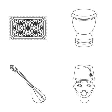 saz: Turkish carpet, saz, drum, turkish men.Turkey set collection icons in outline style vector symbol stock illustration web.