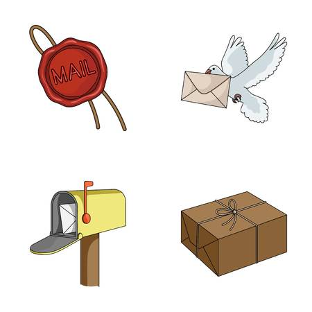 Wax seal, postal pigeon with envelope, mail box and parcel.Mail and postman set collection icons in cartoon style vector symbol stock illustration web.