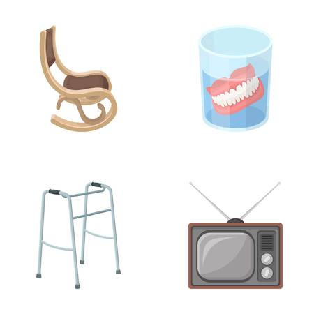 Denture, rocking chair, walker, old TV.Old age set collection icons in cartoon style vector symbol stock illustration web. Illustration