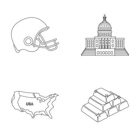 サッカー選手のヘルメット、議会議事堂、区域の地図、金と為替。アメリカ国は、アウトライン スタイルのベクトル シンボル ストック イラスト web