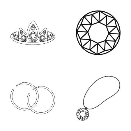 earrings: Tiara, gold chain, earrings, pendant with a stone. Jewelery and accessories set collection icons in outline style vector symbol stock illustration .