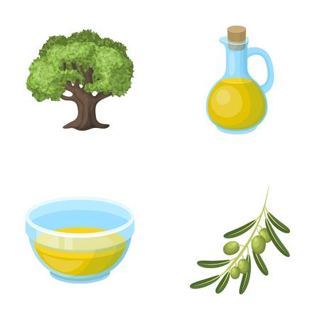 An olive tree, a branch with olives, a vessel and a jug of oil. Olives set collection icons in cartoon style vector symbol stock illustration web. Stock Photo