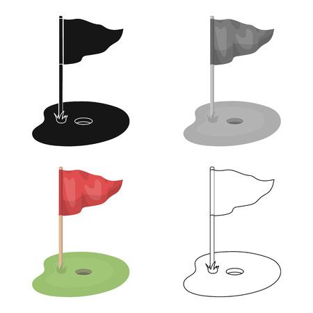 Vlag en golfcursus. Golfclub enig pictogram in het Web van de de voorraadillustratie van het beeldverhaalstijl vectorsymbool.