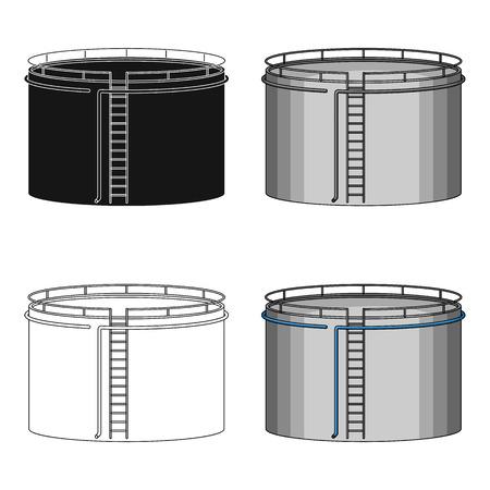 Serbatoio dell'olio. Singola icona del petrolio nel web dell'illustrazione delle azione di simbolo di vettore di stile del fumetto.