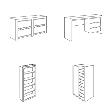 Vector - Wardrobe with mirror wardrobe shelving with mezzanines. Bedroom furniture set collection icons in outline style vector symbol stock illustration ...