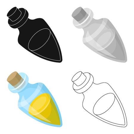 Recipiente con aceite de oliva. Solo icono de aceitunas en estilo de dibujos animados vector ilustración stock web. Vectores