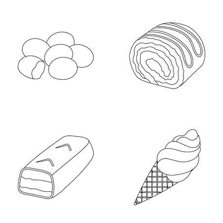 Dragee, roll, chocolate bar, ice cream. Chocolate desserts set collection icons in outline style vector symbol stock illustration web.