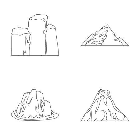 Czyste klify, erupcja wulkaniczna, góra z plażą, lodowiec. Różne góry ustawiają inkasowe ikony w konturu stylu symbolu zapasu ilustraci wektorowej sieci. Ilustracje wektorowe