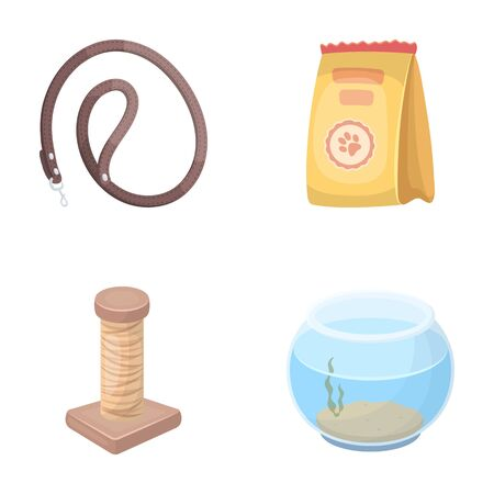 carding: Leash, feed and other zoo store products.Pet shop set collection icons in cartoon style vector symbol stock illustration web.
