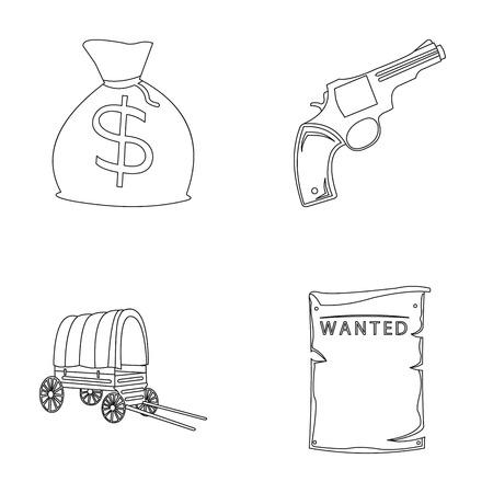 Se está buscando una bolsa con dinero, Colt, van. El oeste salvaje fijó iconos de la colección en web del ejemplo de la acción del símbolo del vector del estilo del esquema.