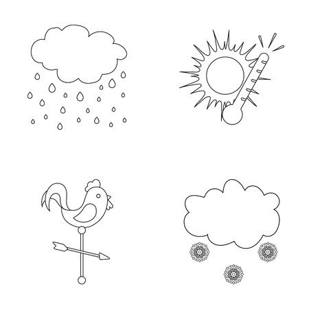 Rain, snow, heat, weathervane. The weather set collection icons in outline style vector symbol stock illustration web.