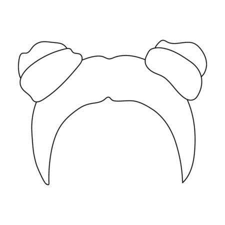 Rojo con dos bobinas. Solo icono del peinado trasero en el estilo de contorno ilustración stock de símbolo del vector.