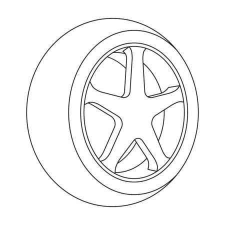 tire cover: Wheel with a tire cover for the car.Car single icon in outline style vector symbol stock illustration .