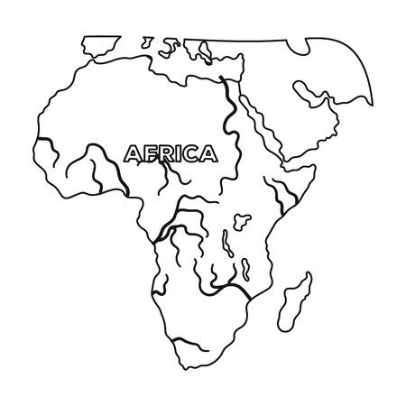 아프리카의 영토입니다. 아프리카 사파리 개요 스타일에서 단일 아이콘 벡터 기호 재고 일러스트 웹. 일러스트