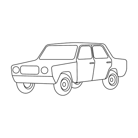 Old car.Car single icon in outline style vector symbol stock illustration .