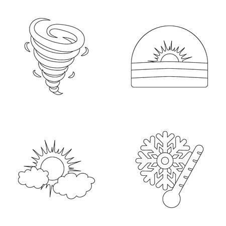 竜巻、日の出、曇り、雪、霜。天気は、アウトライン スタイルのベクトル シンボル ストック イラスト web のコレクションのアイコンを設定します