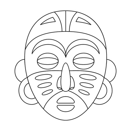 cult: African tribal mask.African safari single icon in outline style vector symbol stock illustration web.