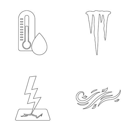 습기, 고드름, 벼락, 바람이 부는 날씨. 날씨 집합 개요 스타일에서 컬렉션 아이콘 벡터 기호 그림 웹입니다.