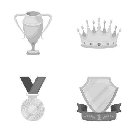 laureate: A silver cup, a gold crown with diamonds, a medal of the laureate, a gold sign with a red ribbon. Illustration