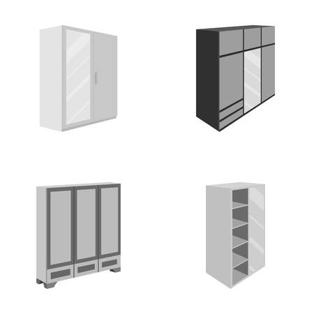 retractable: Wardrobe with mirror, wardrobe, shelving with mezzanines. Bedroom furniture set collection icons in monocrome style vector symbol stock illustration web.