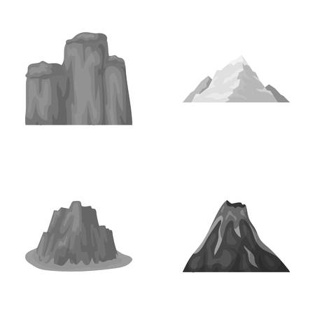 Sheer cliffs, a volcanic eruption, a mountain with a beach, a glacier. Different mountains set collection icons in monochrome style vector symbol stock illustration web.
