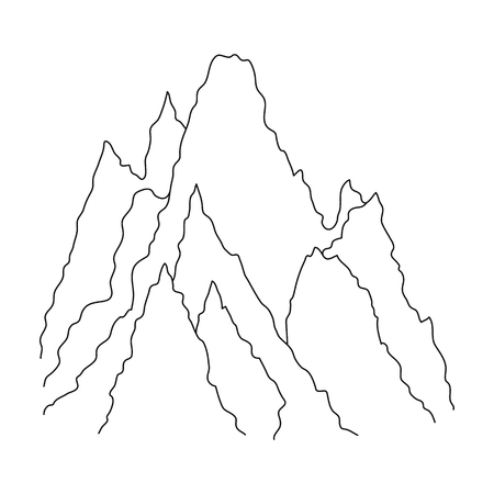 mountaineering: The top of the mountain in the clouds. Mountaineering single icon in outline style vector symbol stock illustration. Illustration