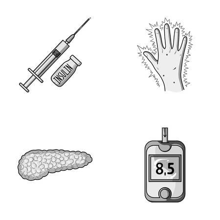 Spuit met insuline, pancreas, glucometer, handdiabetes. Diabet ingesteld collectie iconen in zwart-wit stijl vector symbool stock illustratie web.