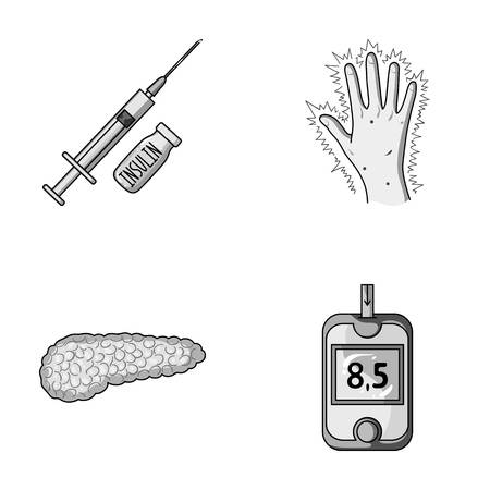 Syringe with insulin, pancreas, glucometer, hand diabetic. Diabet set collection icons in monochrome style vector symbol stock illustration web.