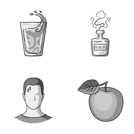 A glass of water, a bottle of alcohol, a sweating man, an apple. Diabeth set collection icons in monochrome style vector symbol stock illustration web.