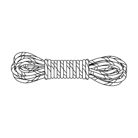 hank: Hank of climbing rope.Mountaineering single icon in outline style vector symbol stock illustration .
