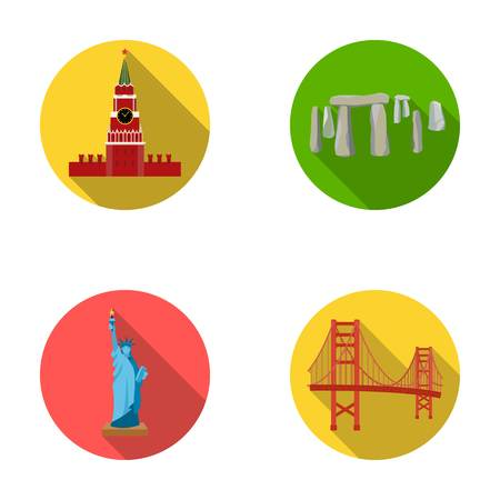 interesting: Building, interesting, place, coliseum .Countries country set collection icons in flat style vector symbol stock illustration web. Illustration