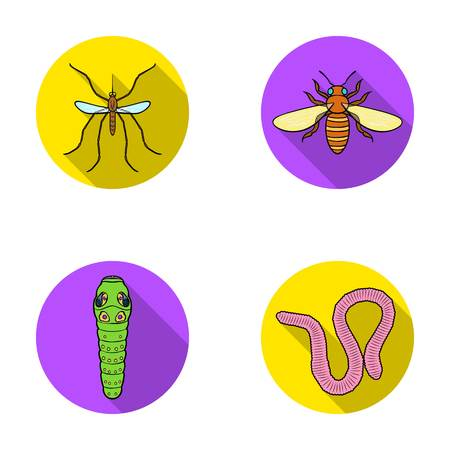 Worm, centipede, wasp, bee, hornet .Insects set collection icons in flat style vector symbol stock illustration web.