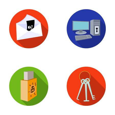 Virus, monitor, display, screen .Hackers and hacking set collection icons in flat style vector symbol stock illustration web.