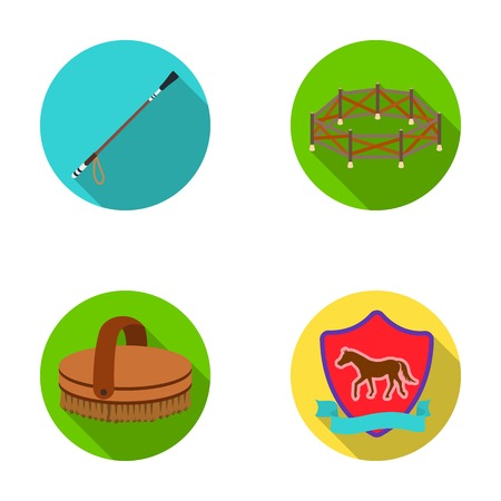 aviary: Aviary, whip, emblem, hippodrome .Hippodrome and horse set collection icons in flat style vector symbol stock illustration web. Illustration