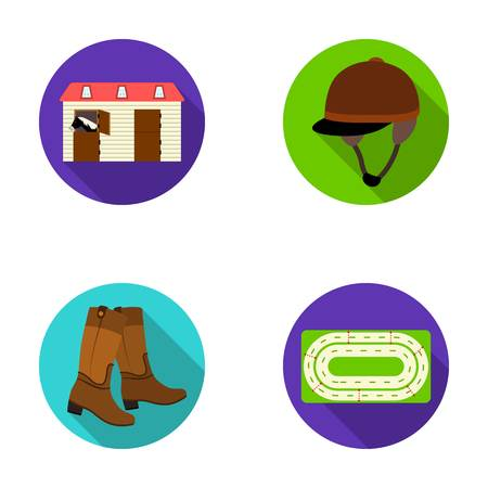 aviary: Boots, grass, stadium, track, rest .Hippodrome and horse set collection icons in flat style vector symbol stock illustration web.