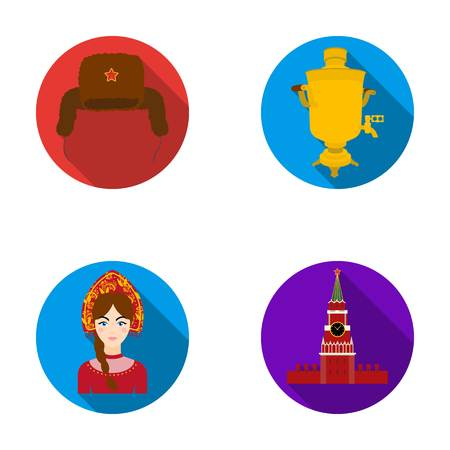 Clothes, woman, kremlin, building .Russia country set collection icons in flat style vector symbol stock illustration web.