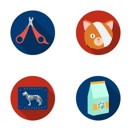 Scissors, cat, bandage, wounded .Vet Clinic set collection icons in flat style vector symbol stock illustration web. Illustration