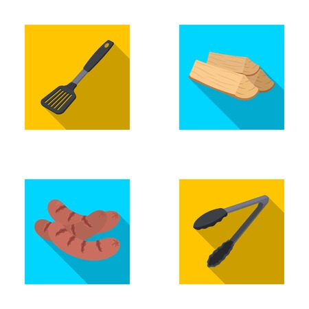 Blade kitchen, firewood, sausages and other for barbecue.BBQ set collection icons in flat style vector symbol stock illustration web. Illustration