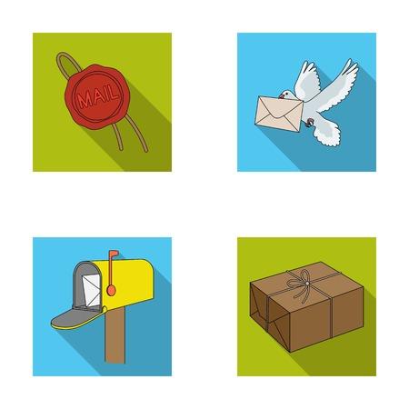 Guarnizione della cera, piccione postale con la busta, cassetta delle lettere e pacchetto. La posta e le icone stabilite della raccolta del postino nel web piano dell'illustrazione delle azione di simbolo di vettore di stile. Archivio Fotografico - 79827246