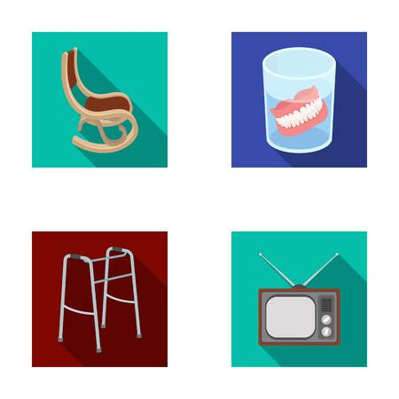 Denture, rocking chair, walker, old TV.Old age set collection icons in flat style vector symbol stock illustration web.