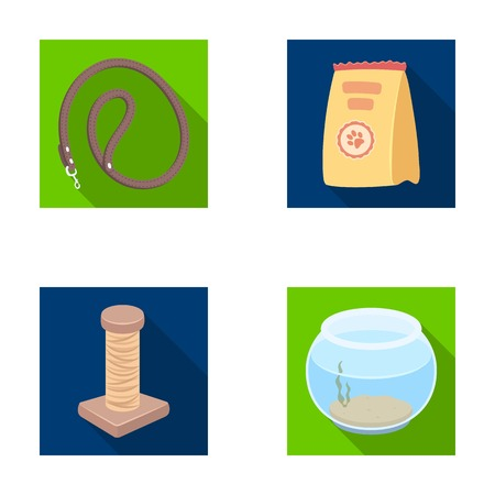 carding: Leash, feed and other zoo store products.Pet shop set collection icons in flat style vector symbol stock illustration web.