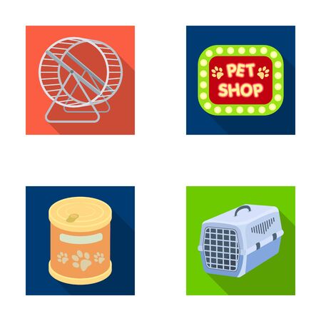 shop for animals: Container for carrying animals and other attributes of the zoo store. Pet shop set collection icons in flat style vector symbol stock illustration web.