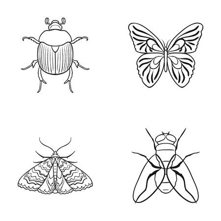 the wrecker: Wrecker, parasite, nature, butterfly .Insects set collection icons in outline style vector symbol stock illustration web. Illustration